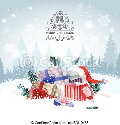Merry Christmas Background.Stack Of Gifts Over Winter Forest Landscape Merry Christmas Background Holiday Greeting Card Design