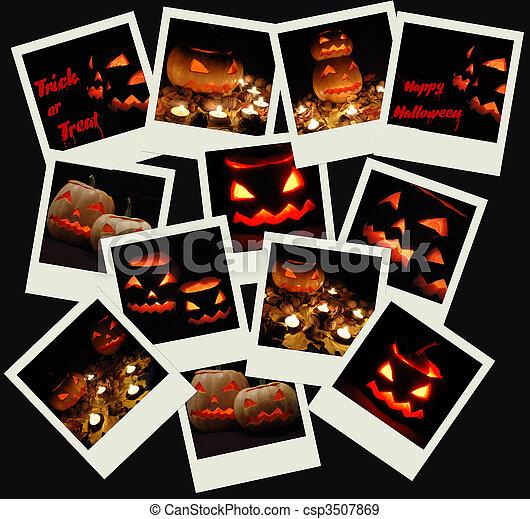 Stack of Halloween photo shots  - csp3507869