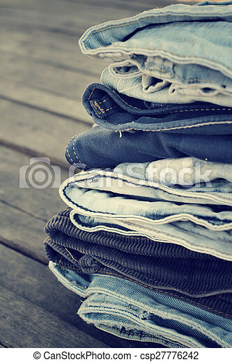Stack of jeans - csp27776242