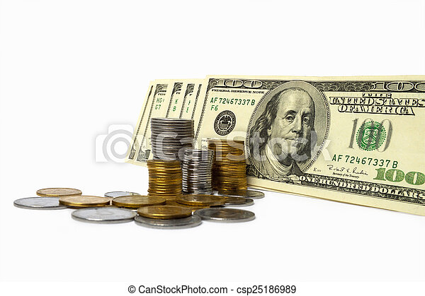 Stack of Money & Coins Isolated on a White Background. - csp25186989