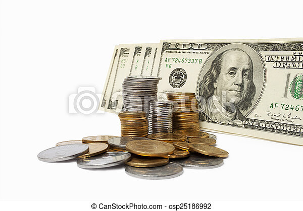 Stack of Money & Coins Isolated on a White Background. - csp25186992