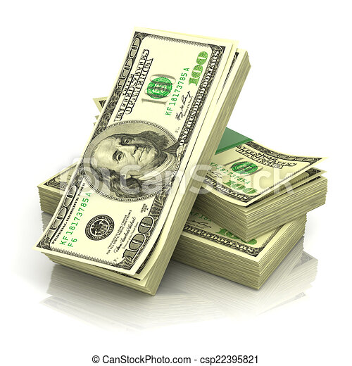 stack of money dollars isolated on white background 3d