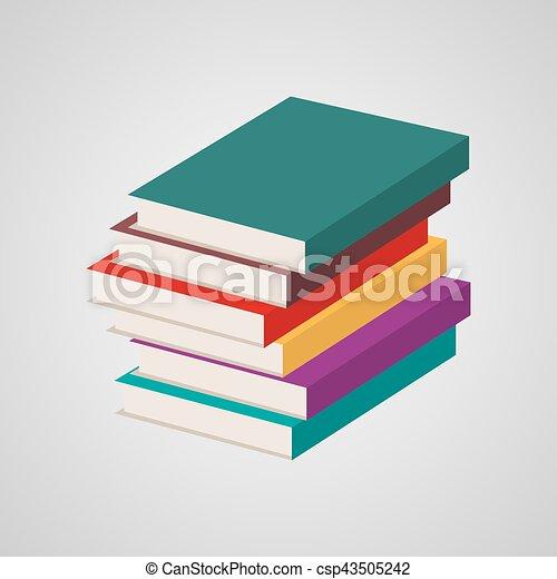 Stack of multi colored books. vector illustration.