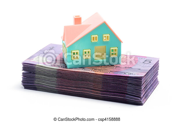 Stack of Notes with Miniature House  - csp4158888