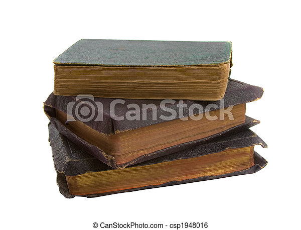 Stack of Old Books over white - csp1948016