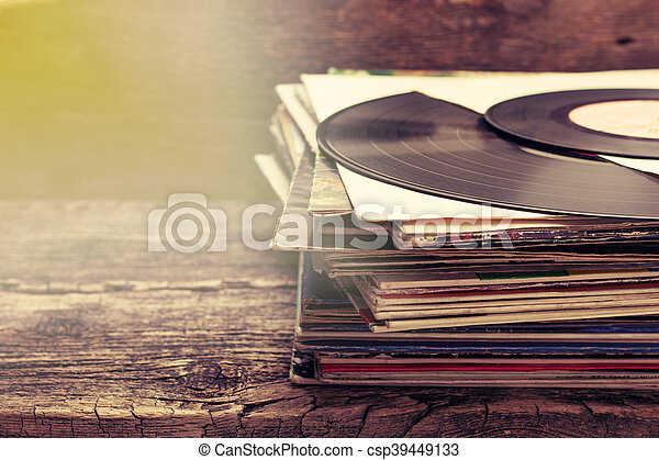 stack of old records - csp39449133
