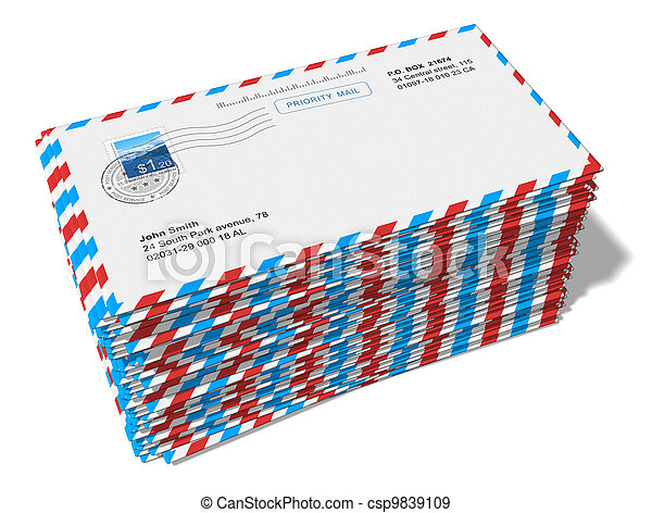 Stack of paper mail letters - csp9839109