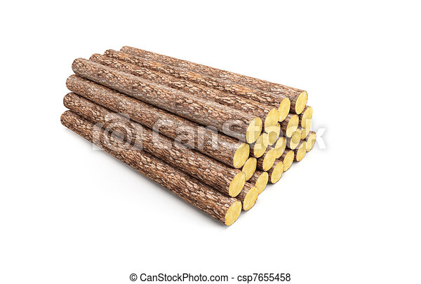 stack of pine logs - csp7655458