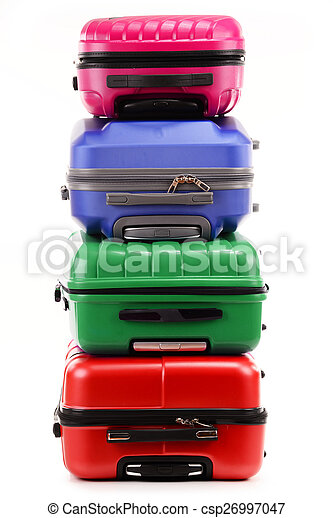 Stack of plastic suitcases isolated on white - csp26997047