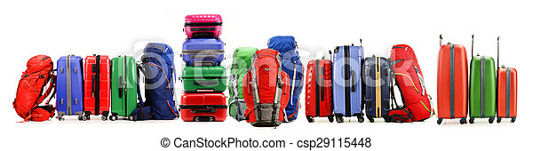 Stack of plastic suitcases isolated on white - csp29115448