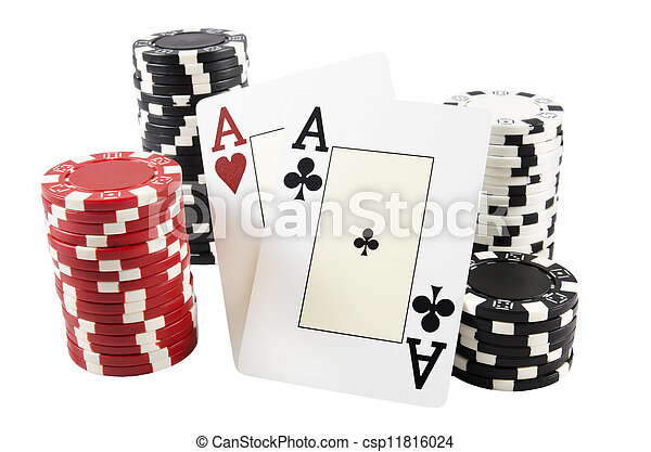 Stack of poker chips and two aces - csp11816024