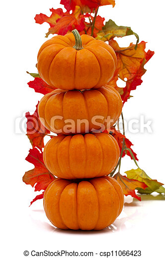 Stack of pumpkins with fall leaves - csp11066423