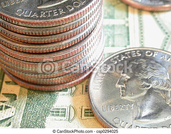 Stack of quarters - csp0294025