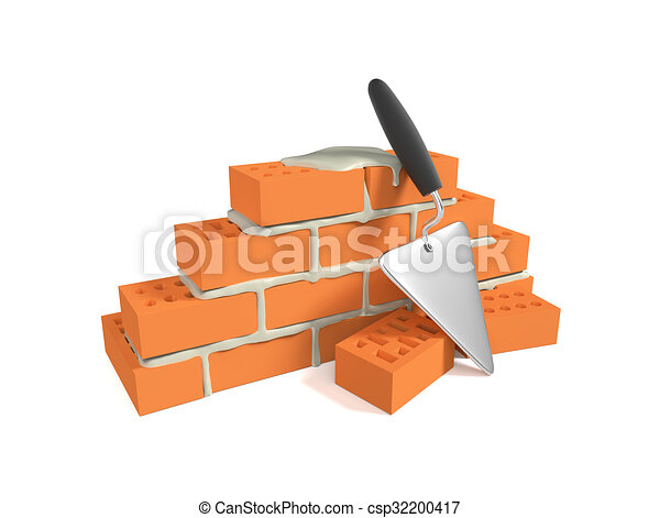 Stack Of Red Bricks And A Pallet Stock Illustration