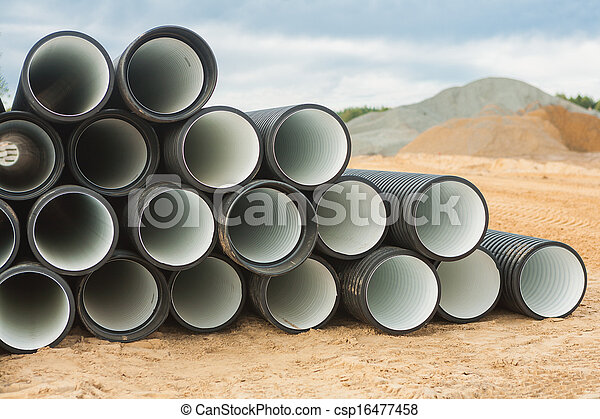 stack of ribbed pipes - csp16477458