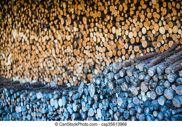 stack of round branch wood pieces for heating background - csp35613966