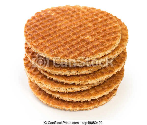 Stack Of Round Dutch Waffles With Caramel Isolated On White Background Canstock