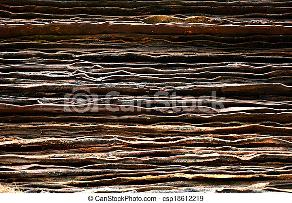 stack of rusty iron plate - csp18612219