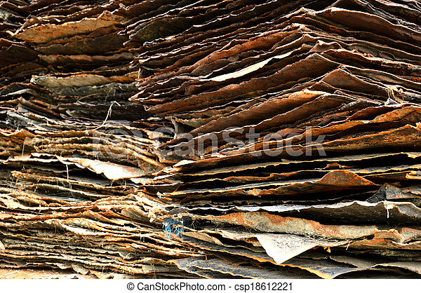 stack of rusty iron plate - csp18612221