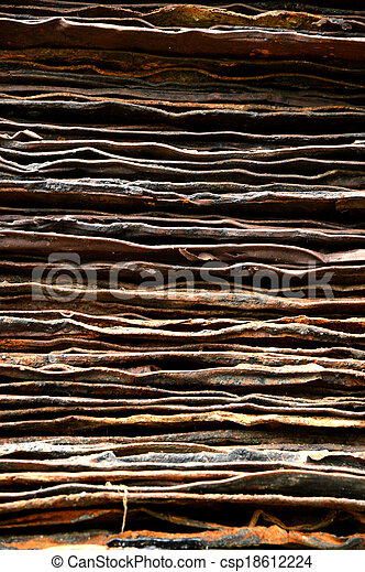 stack of rusty iron plate - csp18612224