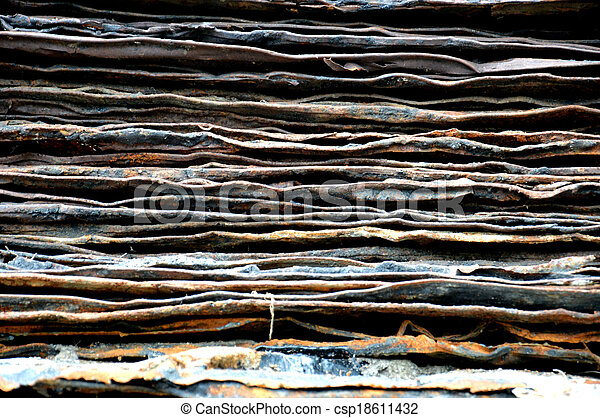 stack of rusty iron plate - csp18611432