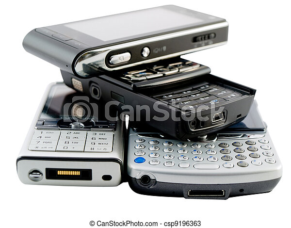 Stack of Several Modern Mobile Phones - csp9196363