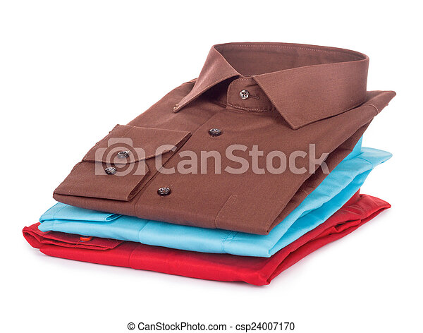 Stack of Shirts, Isolated over white - csp24007170