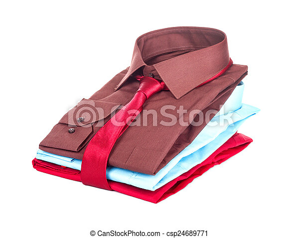 Stack of Shirts, Isolated over white - csp24689771