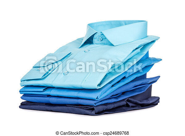 Stack of Shirts, Isolated over white - csp24689768