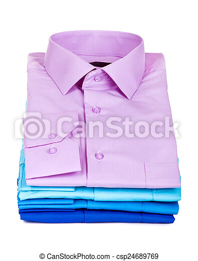 Stack of Shirts, Isolated over white - csp24689769