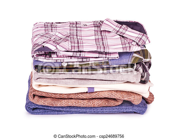 Stack of Shirts, Isolated over white - csp24689756