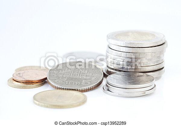 Stack of Thai coins - csp13952289