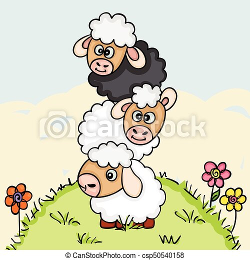 Stack of three sheeps on field illustration - csp50540158