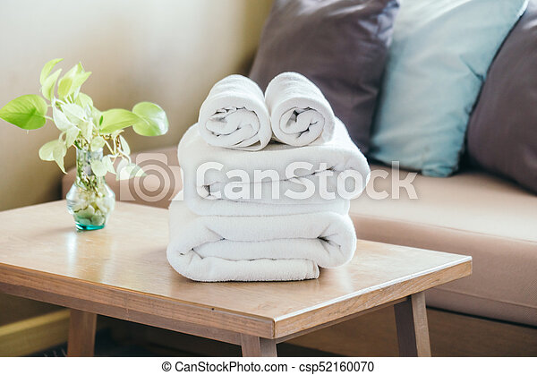 Stack of Towel on table - csp52160070