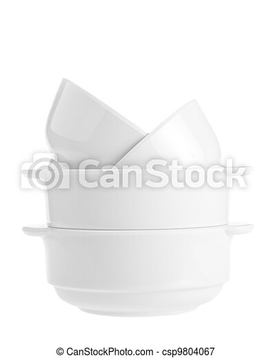 Stack of white bowls isolated on white background - csp9804067