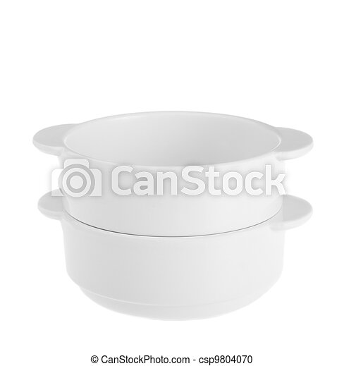 Stack of white bowls isolated on white background - csp9804070