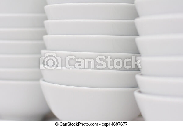 Stack of white bowls - csp14687677