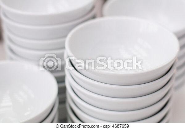 Stack of white bowls - csp14687659