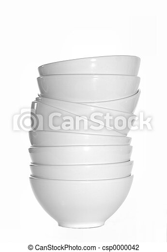 Stack of White Bowls - csp0000042