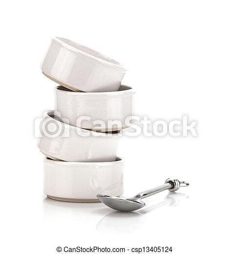 Stack of white bowls - csp13405124