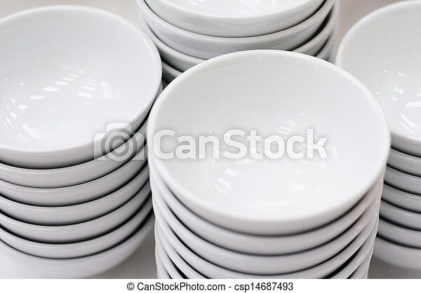 Stack of white bowls - csp14687493