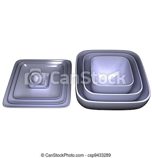 Stack of white bowls - csp9433289