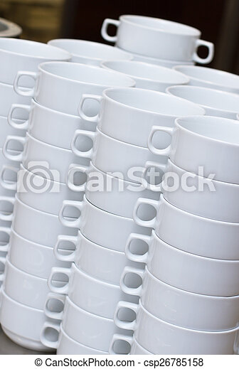 Stack of white soup bowls - csp26785158