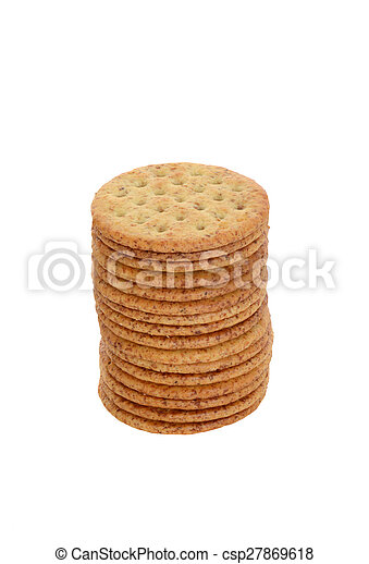stack of whole wheat crackers - csp27869618