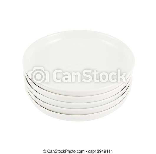 Stack pile of white ceramic plate dishes - csp13949111