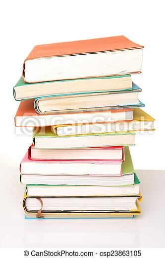 studio shot of stacked books on white background u3000