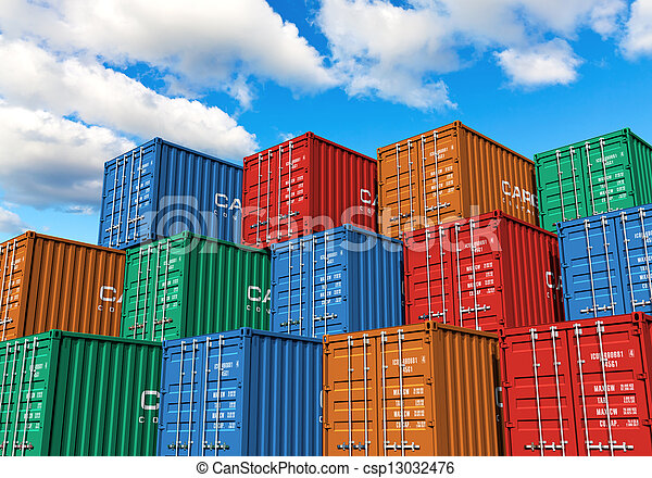 Stacked cargo containers in port - csp13032476