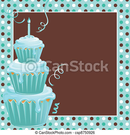 Stacked Cupcakes 1st Birthday Party - csp8750926