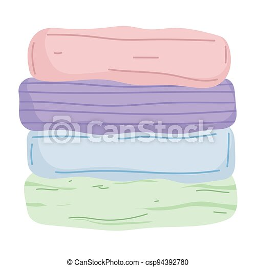 stacked folded clothes - csp94392780