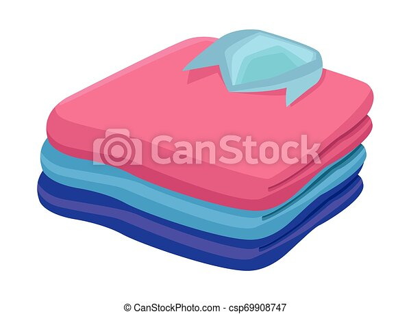 stacked folded clothes icon cartoon - csp69908747